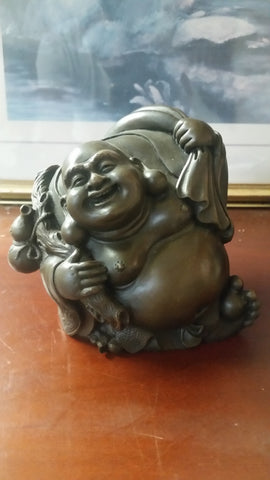 Bronze Figurine - Cheerful Hotei God Of Wealth