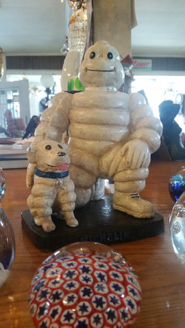 Michelin  Figurine -Cast Iron Michelin Man Kneel w/ Michelin Dog