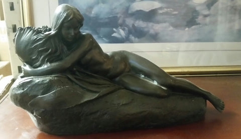 Bronze Candle Holder - Nude Lady on Rock