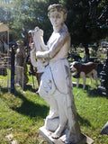 Marble Statue - Lady Play Harp Statue