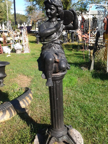 Cast Iron Statue - Pair of Musician Child