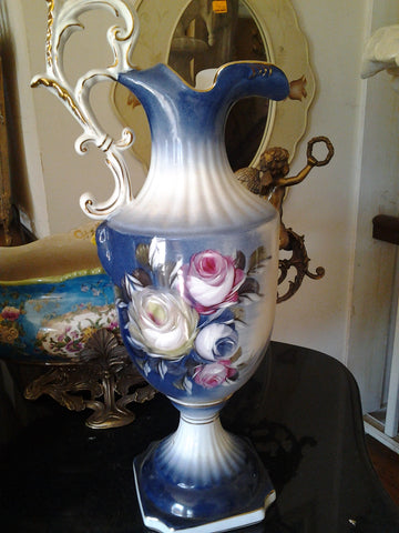 Porcelain - Blue Pitcher Vase w/ Flower Hand Painted
