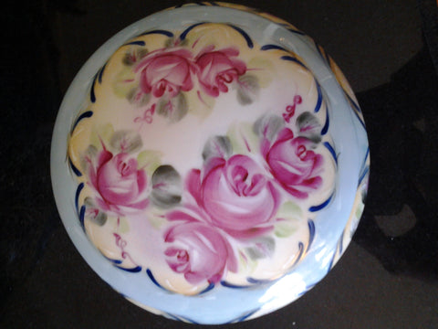 Porcelain - Jewelry Box w/ Hand Painted Pink Rose