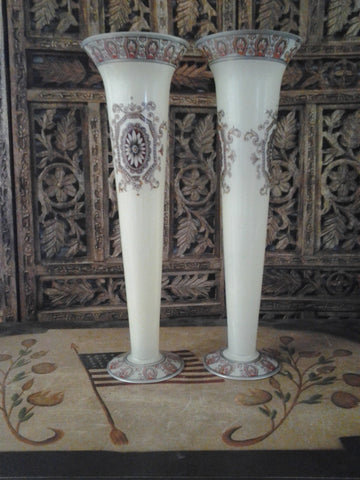 Moser Glass - Pair of Cream White Vase Shape