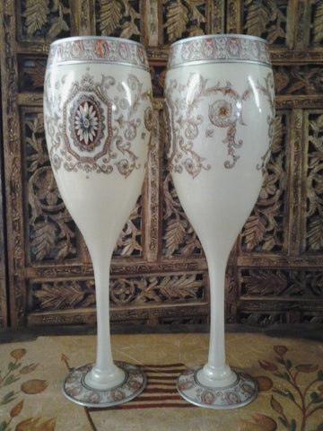 Moser Glass - Pair of Cream White Cup Shape