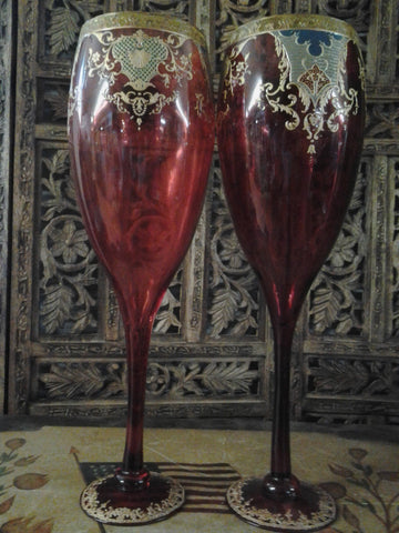 Moser Glass - Pair of Cranberry Red Cup Shape