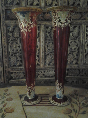 Moser Glass - Pair of Cranberry Red Vase Shape