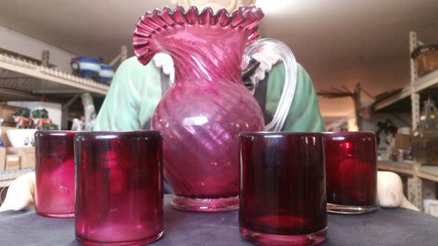 Moser Glass - Cranberry 5 Piece Pitcher Set