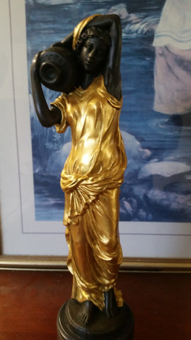 Bronze Figurine - Lady on Gold Gilded w/ Urn on Right