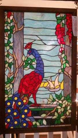 Glass Window - Stained Leaded Wood Frame Peacock Design