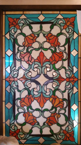 Glass Window - Stained Leaded Wood Frame Victorian w/ Flowers Design