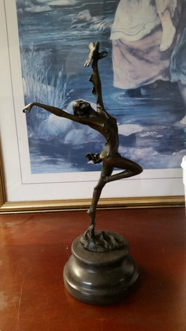 Bronze Figurine - Ballerina w/ Bird on Marble