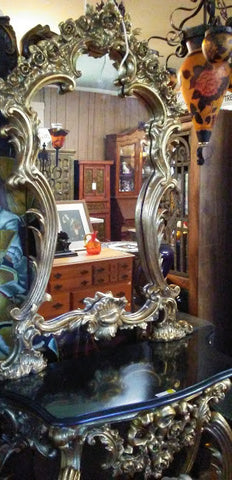 Louis XV Mirror - Console With Black Marble Table Top