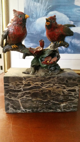 Bronze Figurine - Cardinal Birds on Marble
