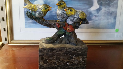 Bronze Figurine - 3 Birds on Marble Base