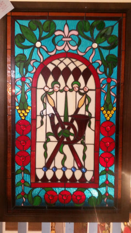 Glass Window - Stained Leaded Wood Frame Cross Spear w/ French Horn