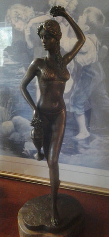 Bronze Figurine - Lady In Bikini w/ Grapes on Marble Base