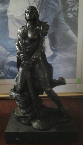 Bronze Figurine - Female Warrior on Marble Base