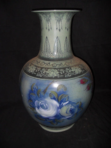 Porcelain - Vase Floral Painted Vase / Urn with Crackle Finish