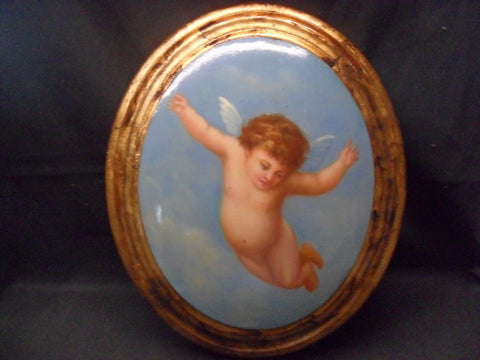 Wooden Oval Wall Plaque with Hand Painted Cherub