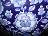 Porcelain - Vase Cobalt Porcelain Floral w/ Crazed Finish