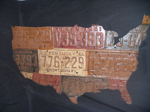 Vintage Style U.S. License Plate Art Map