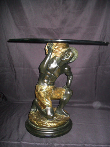 "Blackamoor Glass Top Table ""Kneeling"""