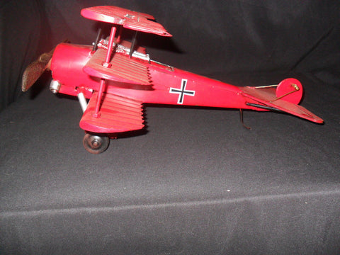 "German Fokker Tri-Wing Hand Crafted Tin ""Red Baron"" Airplane Model"