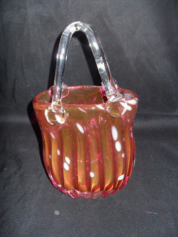 Glass Basket Vase - Fenton Style Cranberry Clear