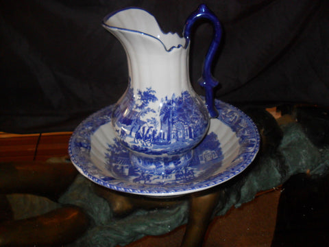 Porcelain - Flow Blue and White Pitcher and Wash Set
