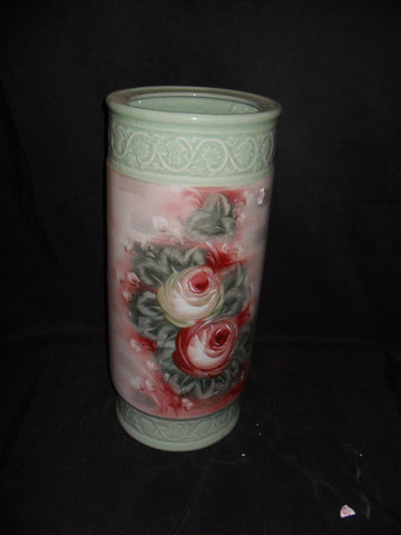 Porcelain Umbrella Stand with Crackle Finish Floral