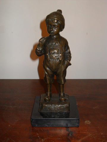 Vintage Style Bronze Statue of Smoking Boy on Marble Base