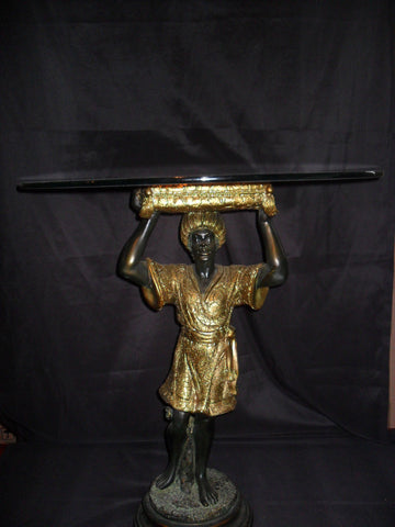 "Blackamoor Glass Top Table ""Standing"""