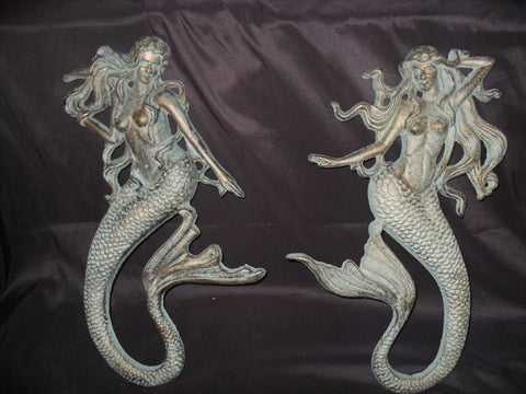 Pair of Hanging Cast Iron Mermaids