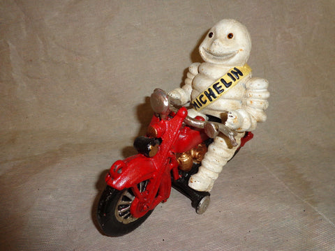 Cast Iron Figurine - Michelin Man Vintage Toy w/ Motorcycle