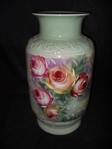 Porcelain Vase Floral Painted with Crackle Finish and Raised Decorative Trim Umbrella Stand