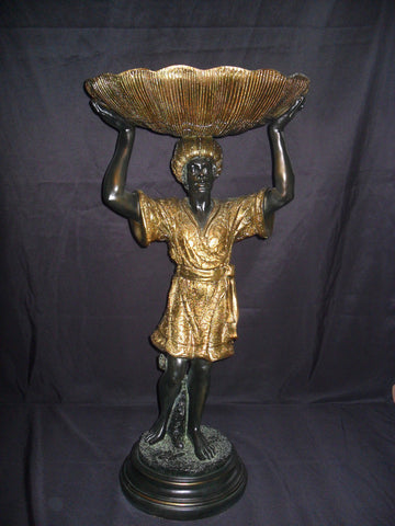 Statue Holder - Blackamoor Standing w/ Shell