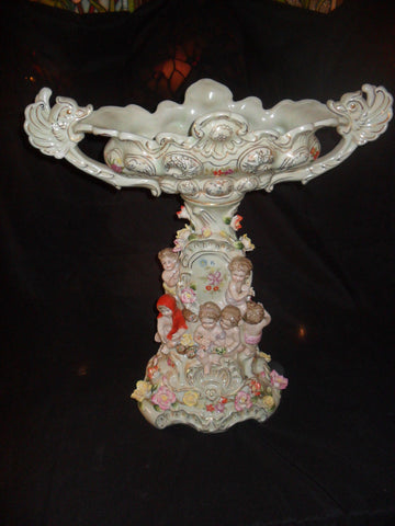 Porcelain Dresden - Centerpiece w/ Cherubs and Raised Flowers