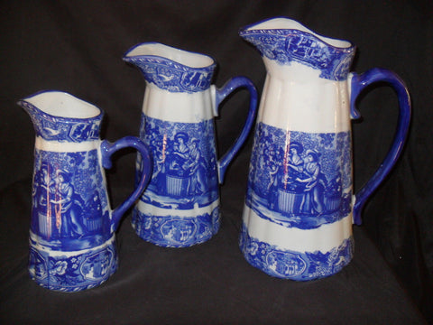 Porcelain - Pitcher Set Blue Flow 3 Piece