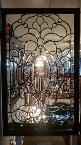 Glass Window - Stained Leaded Wood Frame Clear Glass w/ Beveled Edge Design