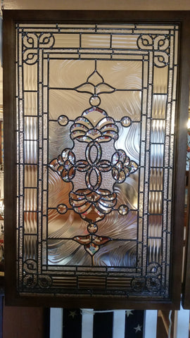 Glass Window - Stained Leaded Wood Frame Clear Glass w/ Geometry Beveled Design