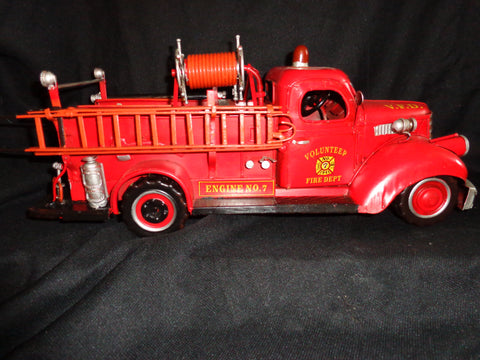 Vintage Toys - Fire Truck 1941 Mack Tin Volunteer Engine Number 7