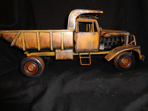 Dump Truck Tin Toy Large Yellow Vintage Style 15 1/2""