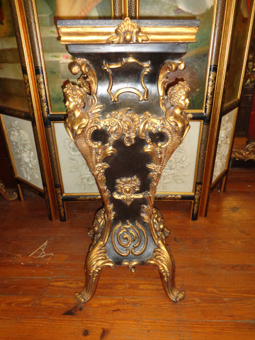 French Louis XV - Pair Black Marble Top Pedestal Table w/ Gold Gilded