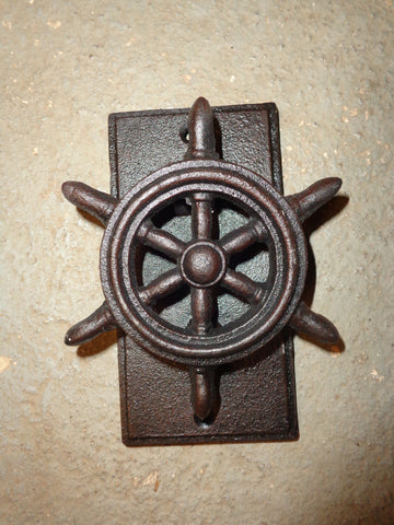 Door Knocker Nautical Brown Iron Ship Wheel Door Knocker 6""