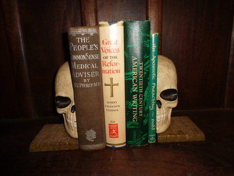 Bookends -Cast Iron  Pair Halloween Skull Head