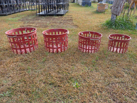 Industrial Planter  Strainer 4 PC.  Red Planter Basket Set