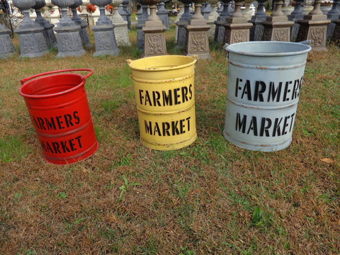 "Industrial Bucket 3 PC. ""Farmers Market"" Bucket Planter"