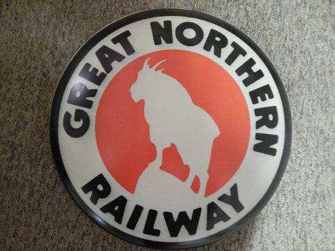 "Tin Advertising Button Sign ""Great Northern Railway"""