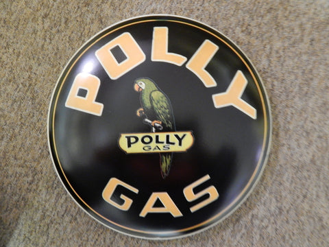 "Tin Advertising Button Sign ""Polly Gas"""
